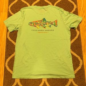 Collared Greens rainbow trout Pocket Tee - XL